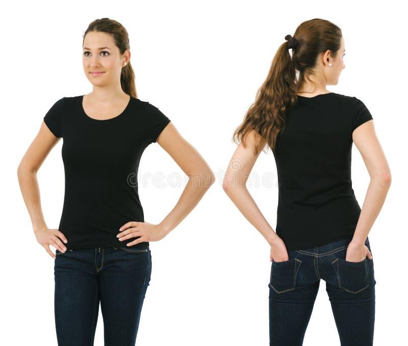 Smiling Woman Wearing Blank Black Shirt Stock Photo ...