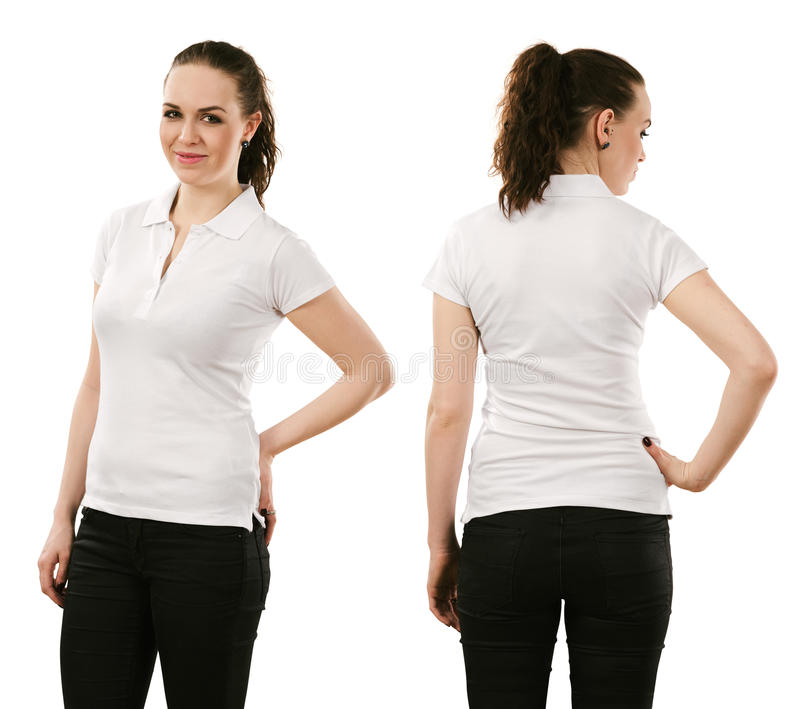 Download Smiling Woman Wearing Blank White Polo Shirt Stock Photo - Image of customize, isolated: 38477528