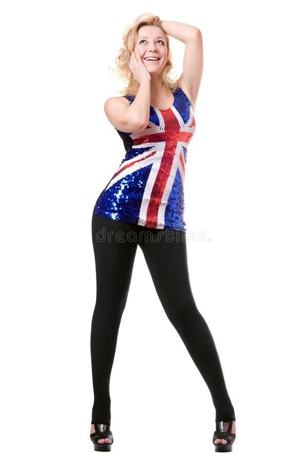 Download Smiling Woman Wearing Union-flag Shirt Stock Photo - Image: 18983366
