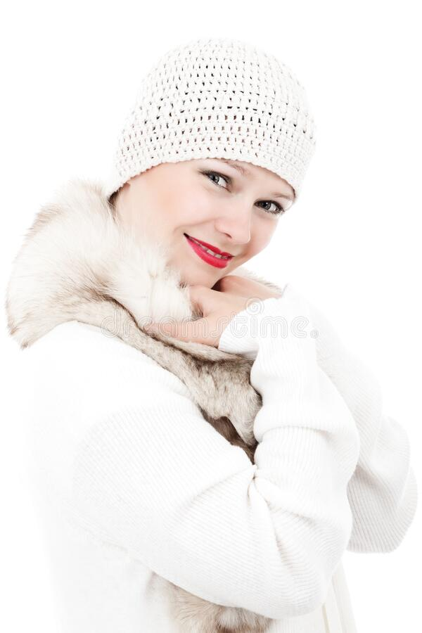 Smiling Woman Wearing White Knit Cap And White And Beige Fur Lined Coat Free Public Domain Cc0 Image