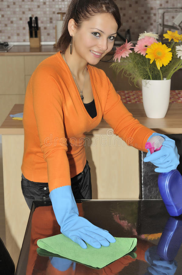 smiling women cleaning the house royalty free stock photography