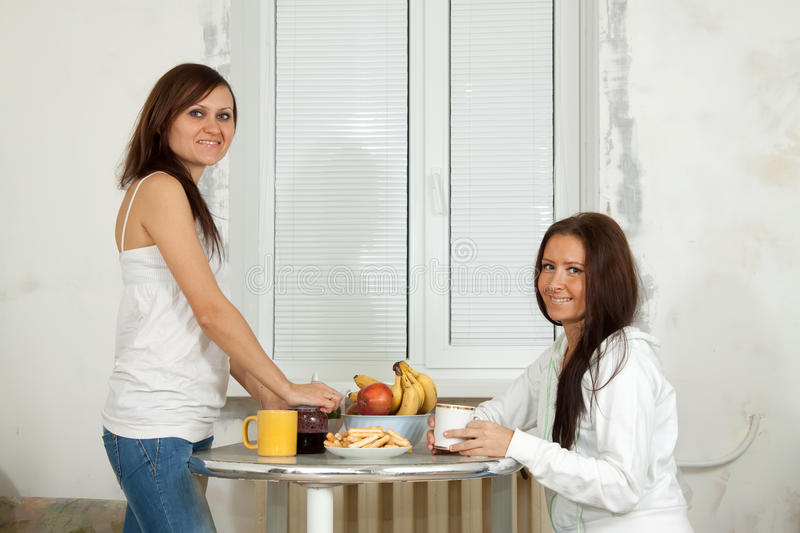 Smiling women have tea. Two smiling women have tea in kitchen stock image