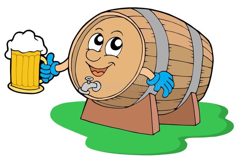 Smiling wooden keg holding beer vector illustration