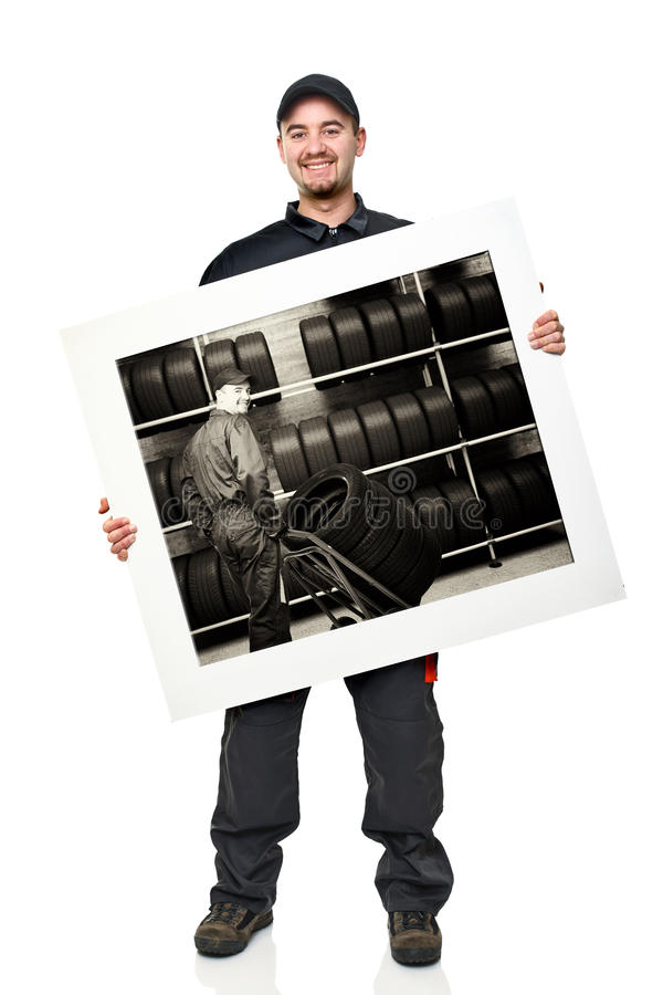 Download Smiling Worker With Board Stock Photo - Image: 19736520