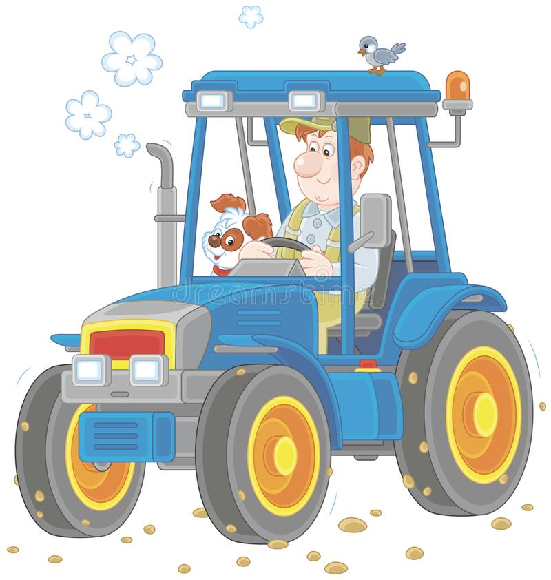 Tractor driver with a small dog. Smiling worker driving his wheeled tractor, a vector illustration in cartoon style stock illustration