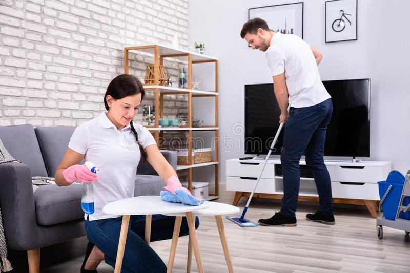 Smiling Workers Cleaning The Room royalty free stock photo