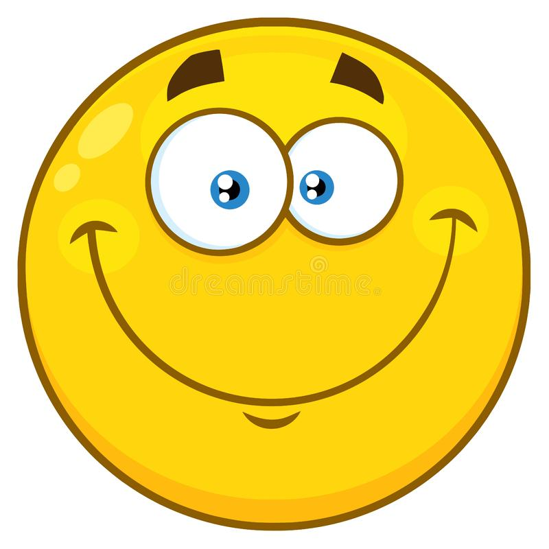 Smiling Yellow Cartoon Emoji Face Character With Happy Expression royalty free illustration