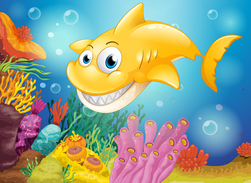 A smiling yellow shark under the sea stock illustration