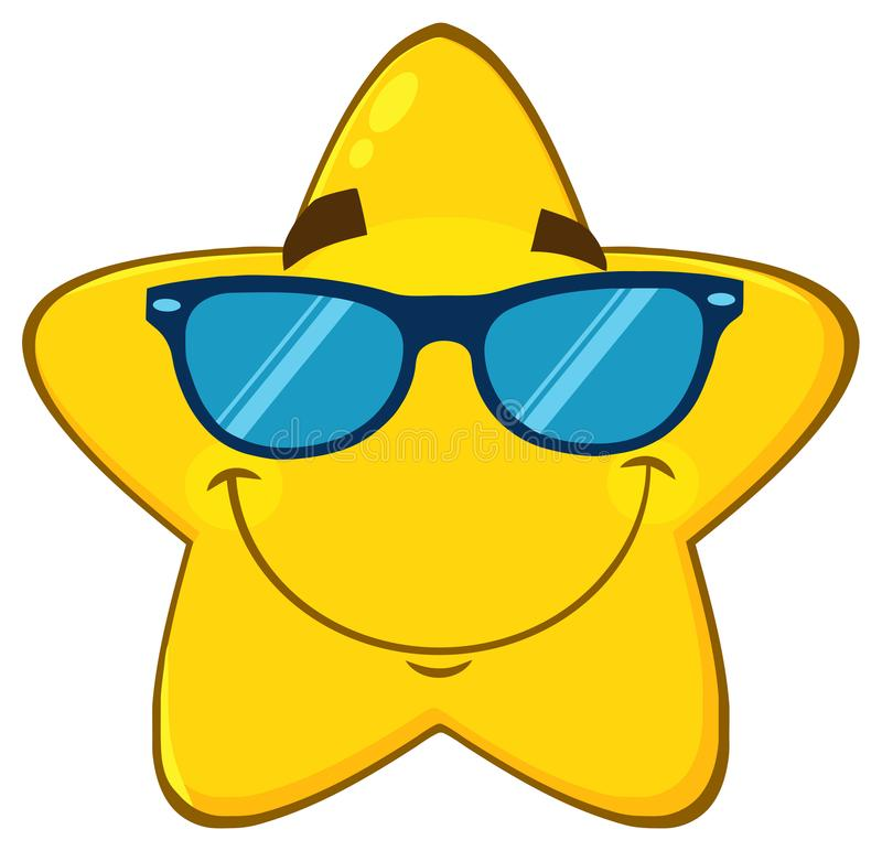 Smiling Yellow Star Cartoon Emoji Face Character With Sunglasses. Illustration Isolated On White Background royalty free illustration