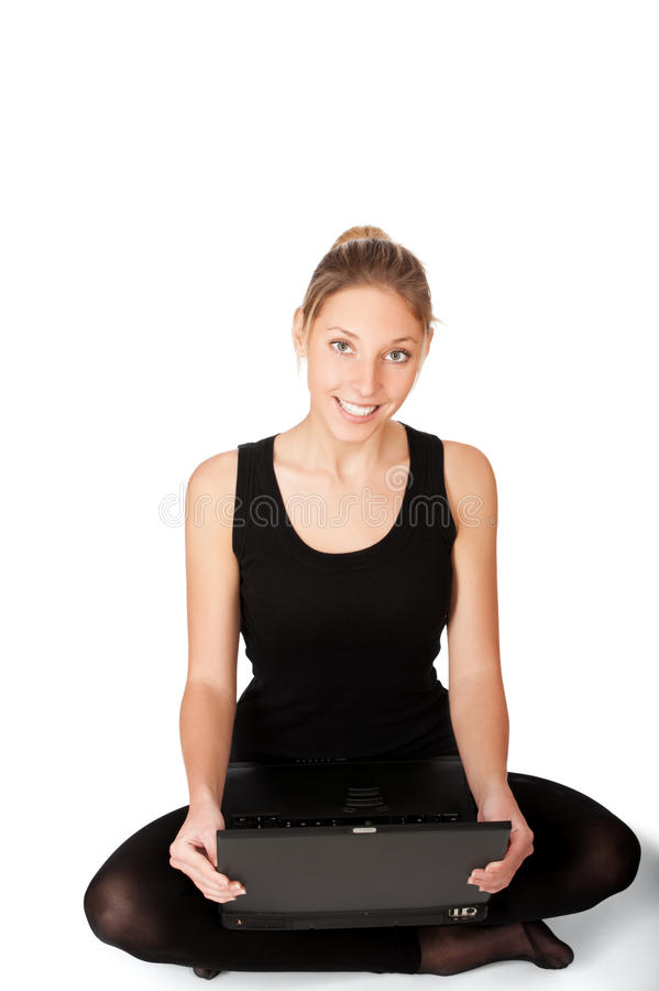 Download Smiling Yong Woman Sitting On Floor Stock Image - Image of female, notebook: 23580359