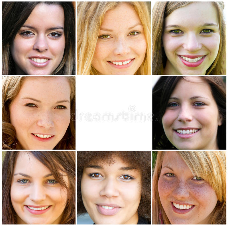 Download Smiling young adult woman stock image. Image of collage - 67965893