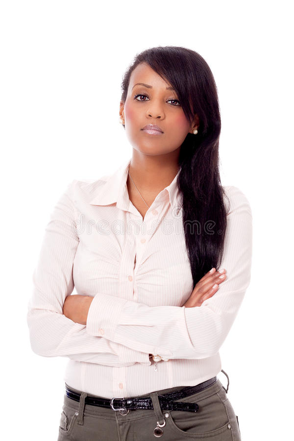 Smiling young african woman portrait isolated royalty free stock photos