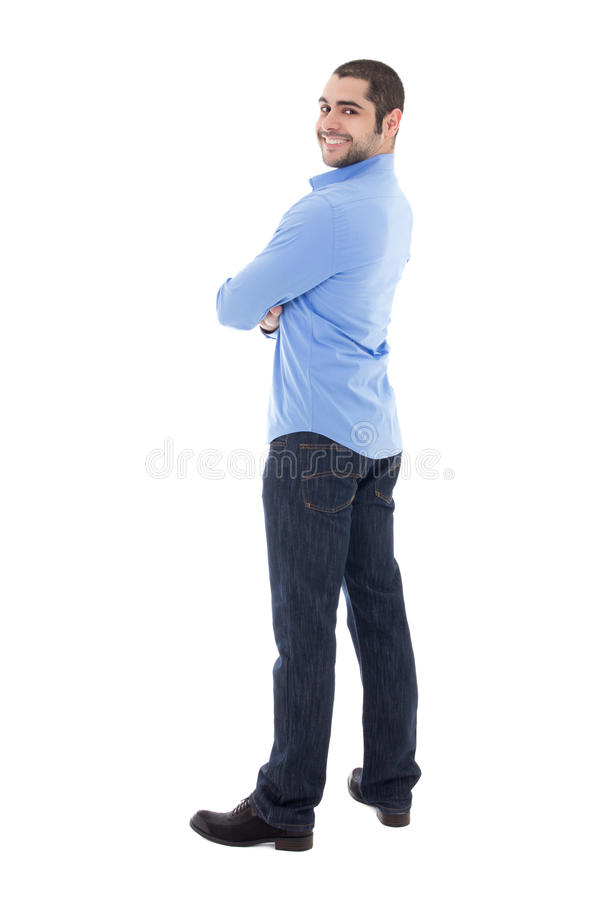 Smiling young arabic business man in blue shirt isolated on whit stock images