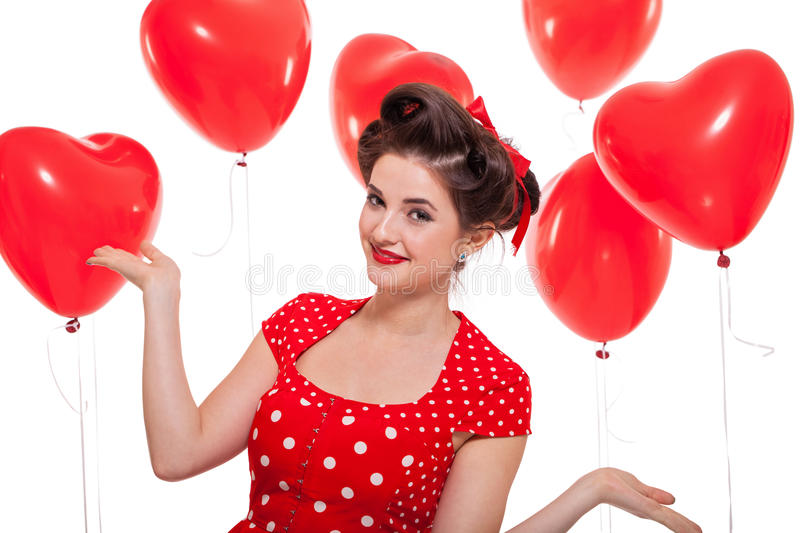 Smiling young attractive girl woman with red lips isolated stock image