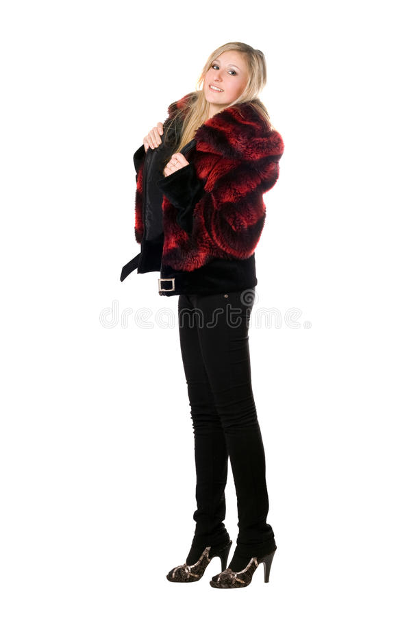 Download Smiling Young Blond Woman In A Fur Jacket Royalty Free Stock Images - Image: 16880319