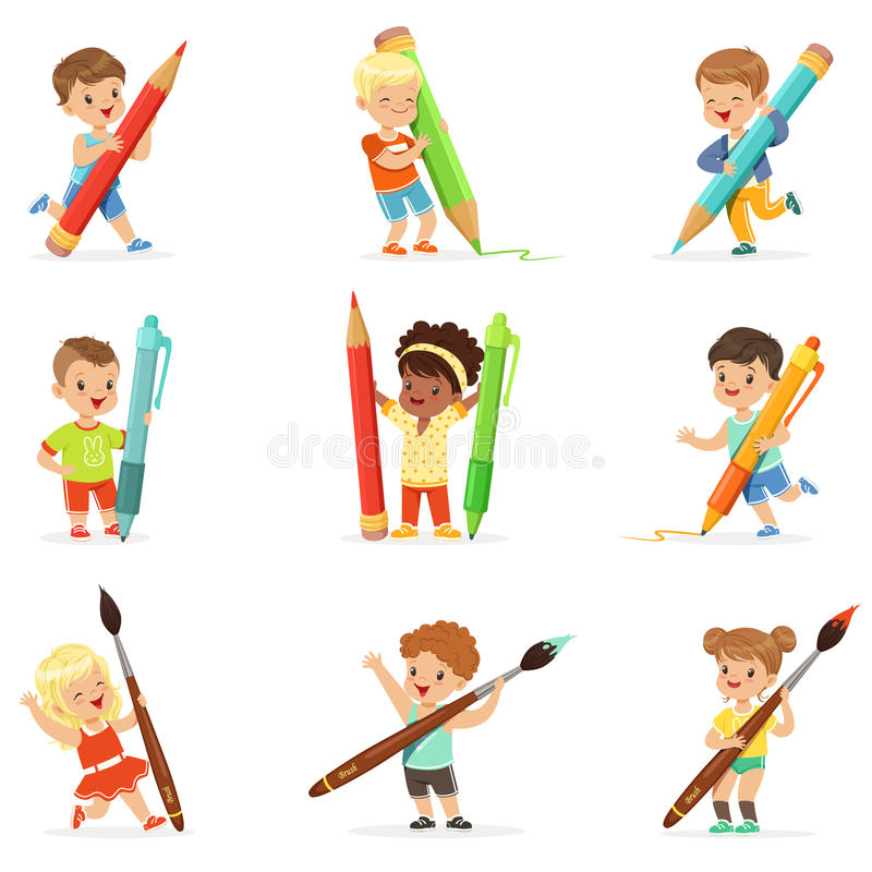 Smiling young boys and girls holding big pencils, pens and paintbrushes, set for label design. Cartoon detailed colorful royalty free illustration
