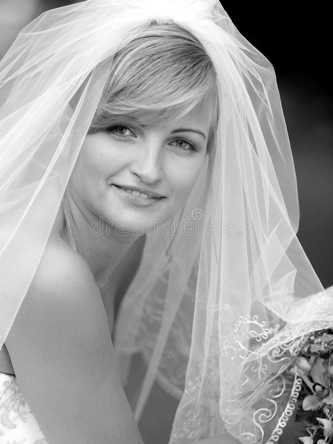 Smiling young bride in veil. Portrait of smiling young adult bride in veil stock photos