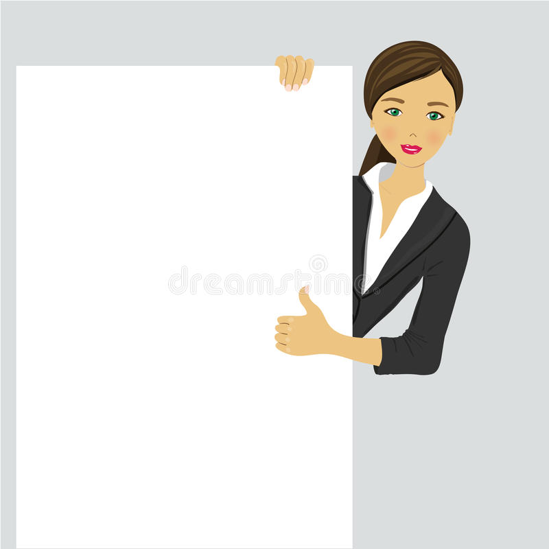 Smiling young business girl showing signboard. Happy smiling young business woman showing blank signboard, over white background vector illustration