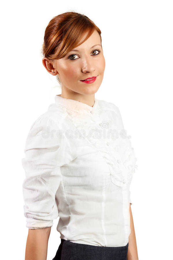 Smiling young business woman portrait stock photos