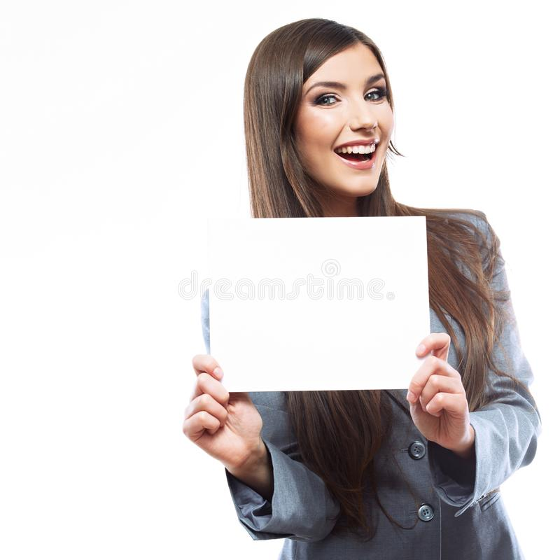 Smiling young business woman show blank signboard. Isolated on white background stock images