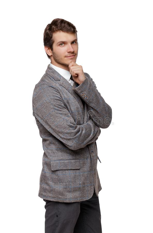 Smiling young businessman. Front view stock photo
