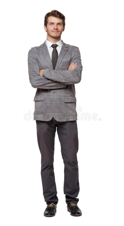Smiling young businessman. Front view stock image