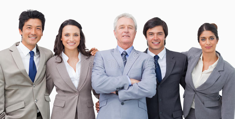 Download Smiling Young Businessteam With Their Mentor Stock Photo - Image: 22862276