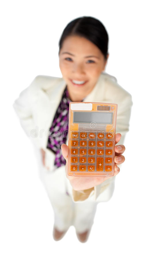 Download Smiling Young Businesswoman Holding A Calculator Stock Photo - Image: 12211694