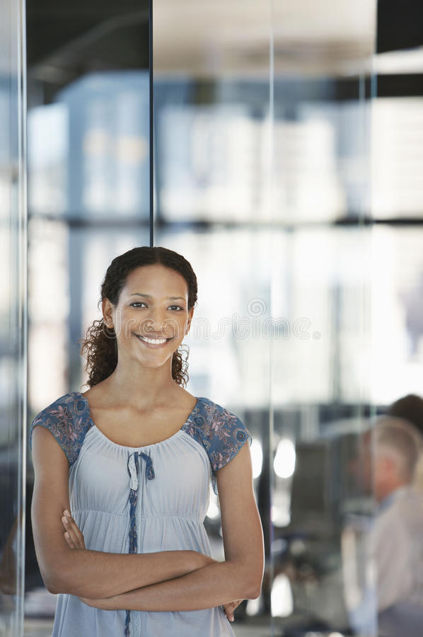 Smiling Young Businesswoman In Office royalty free stock photos