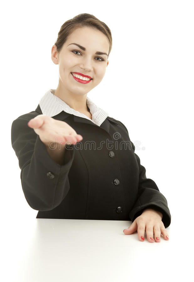 Download Smiling Young Businesswoman Showing Something Stock Photo - Image: 24295562
