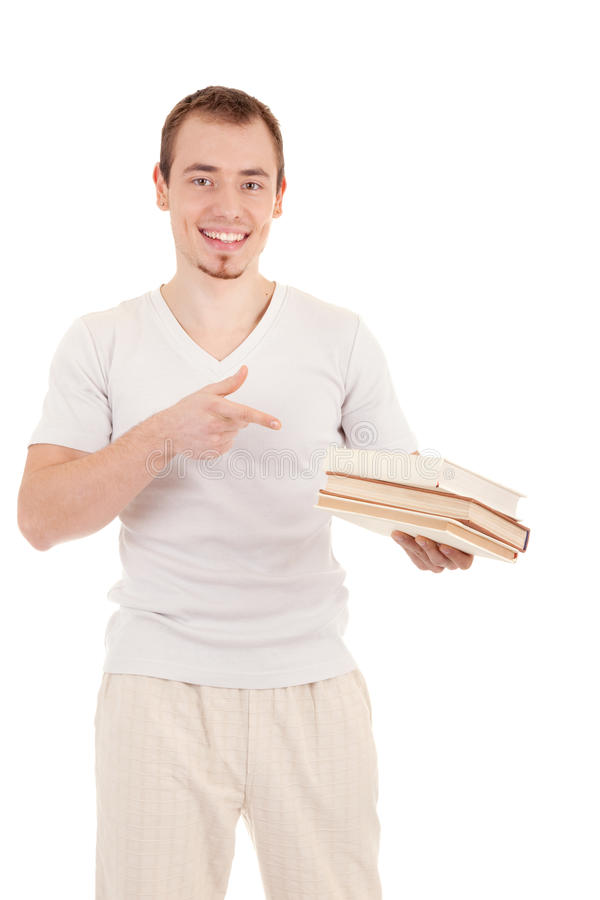 Smiling young casual men with a book stock photos