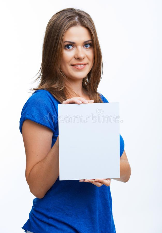Woman showing blank signboard. Smiling young casual style woman showing blank signboard, over white background isolated stock image
