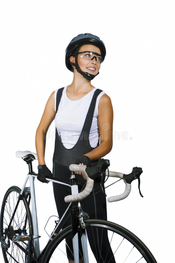 Download Smiling Young Caucasian Female Cycling Athlete In Professional C Stock Photo - Image: 32450260
