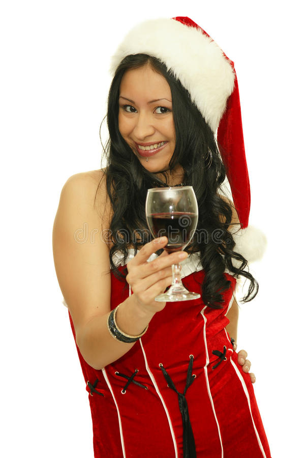 Smiling young christmas woman royalty free stock photo