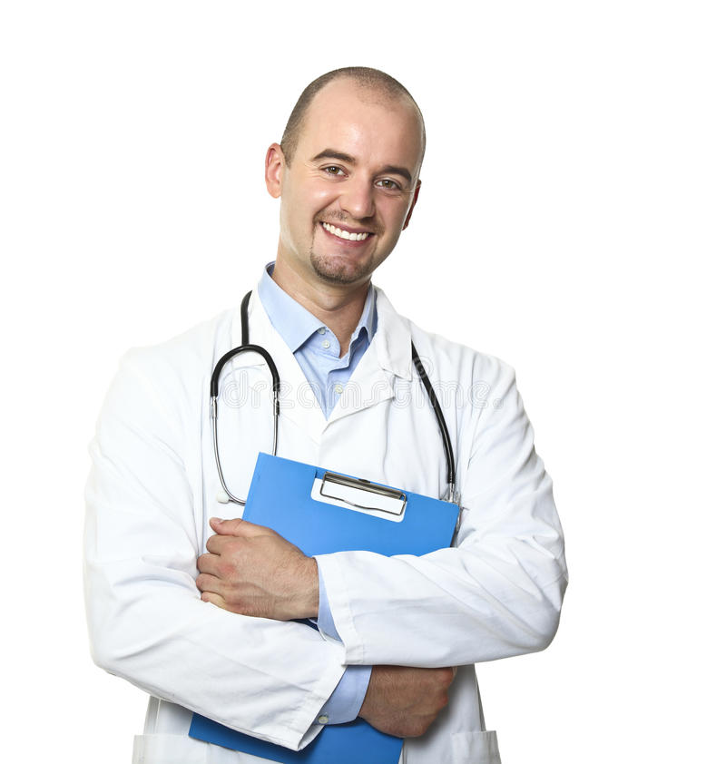 Smiling young doctor stock image