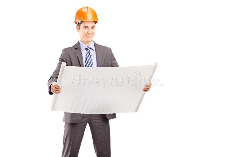 Download Smiling Young Engineer Posing With A Blueprint Stock Image - Image: 29966651
