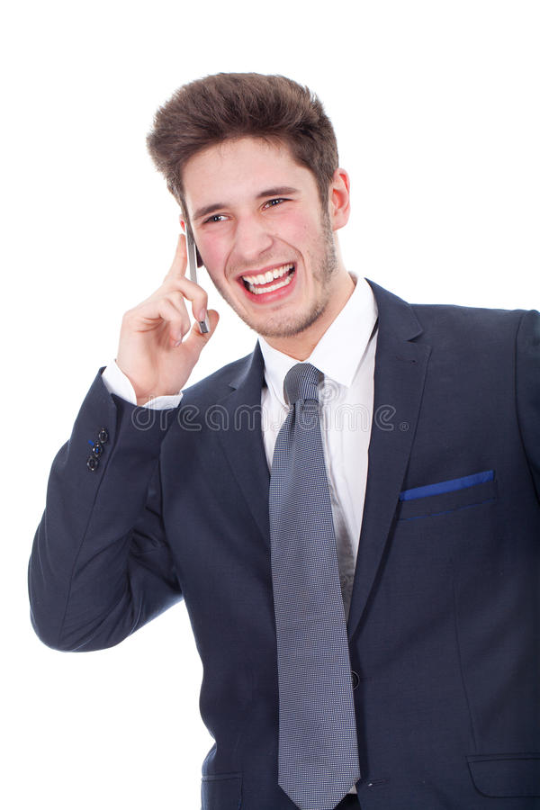 Download Smiling Young Executive Using Cellphone Stock Photo - Image: 30303454
