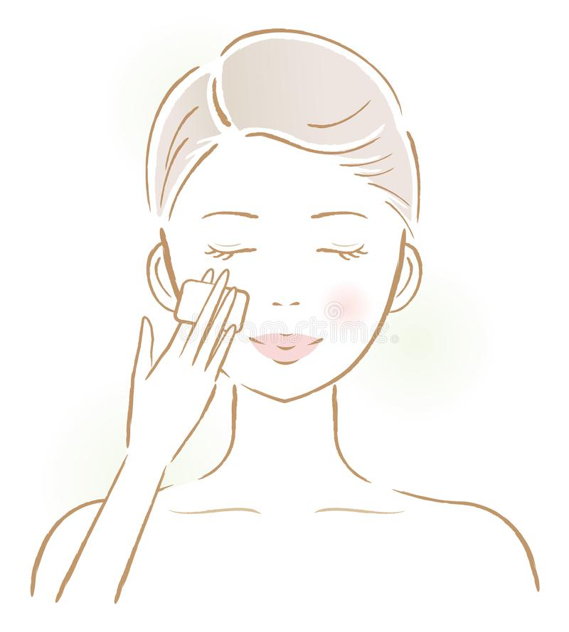Beautiful woman applying lotion with cotton-pad on her face. beauty and skin care concept. Smiling young female applying lotion for facial skin treatment vector illustration