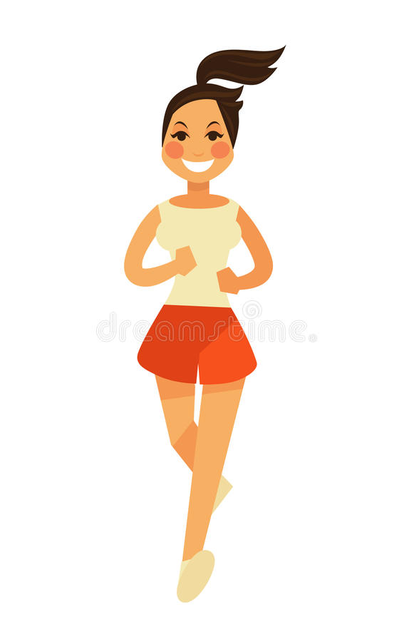 Smiling young female person in shorts runs in camera. Smiling young female person with ponytail wearing red shorts and beige t-shirt runs in camera. Vector vector illustration