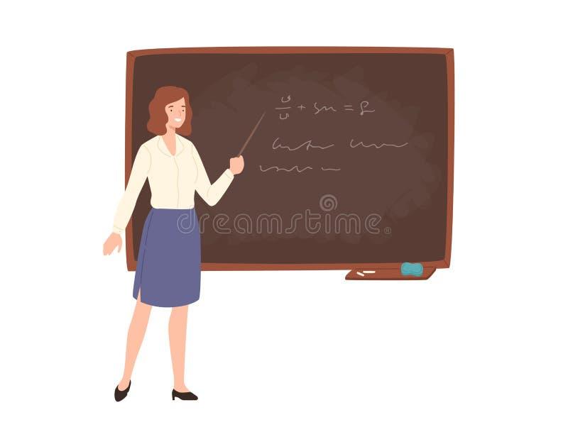 Smiling young female school or college teacher, professor, education worker standing beside chalkboard, holding pointer stock illustration
