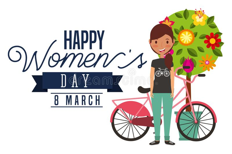 Smiling young girl bike and tree flowers decoration card happy womens day royalty free illustration