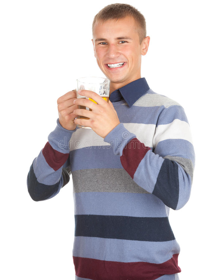 Download Smiling Young Handsome Man With Beer Stock Image - Image: 22001225