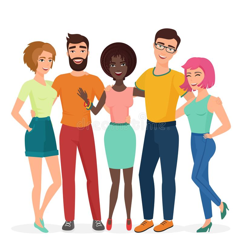 Smiling young hugging friends group. People students friendship vector illustration concept. stock illustration