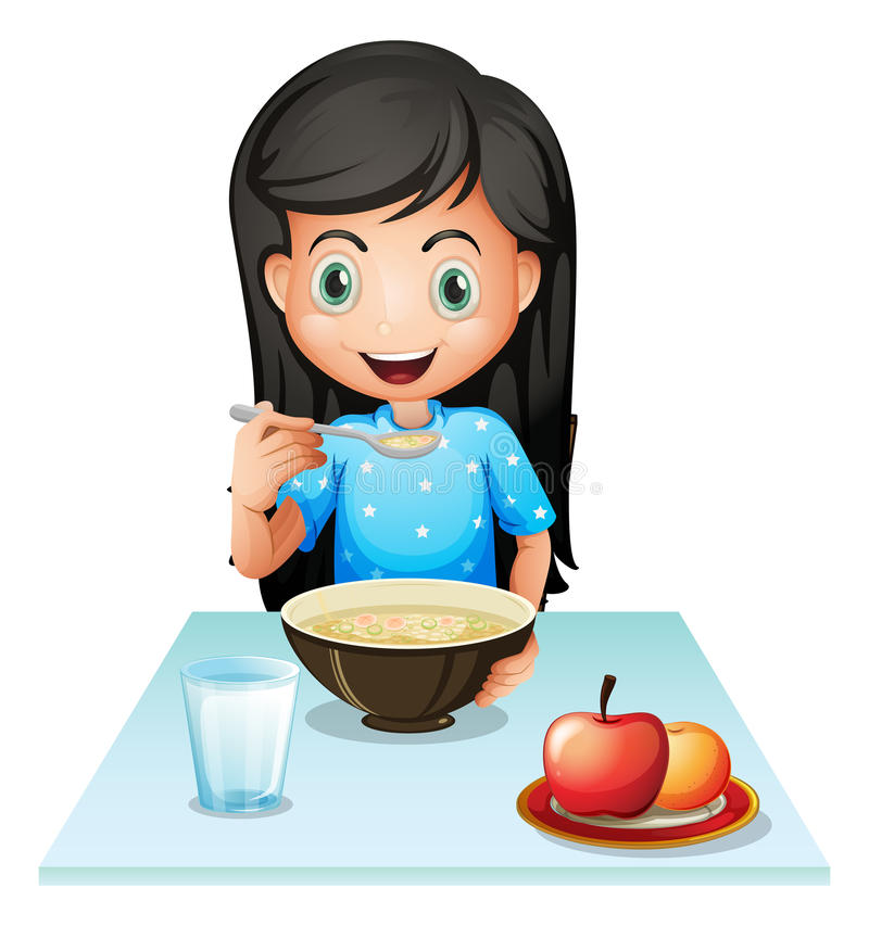 A smiling young lady eating breakfast. Illustration of a smiling young lady eating breakfast on a white background stock illustration