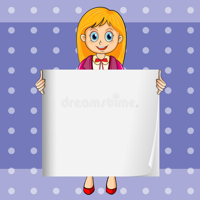 A smiling young lady holding an empty rectangular template stock illustration
