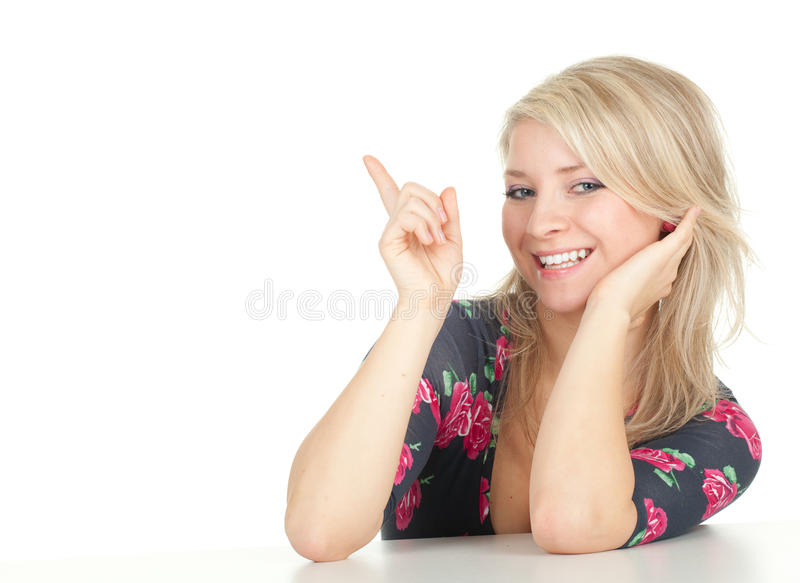 Download Smiling Young Long Hair Woman, Pointing Stock Image - Image of caucasian, portrait: 17953647