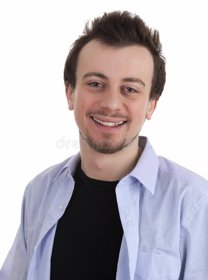Smiling Young Man In Blue Shirt Royalty Free Stock Images