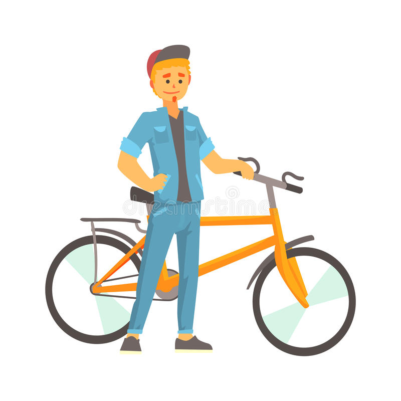 Smiling young man in casual clothes standing next to a bike, sport lifestyle, vector vector illustration