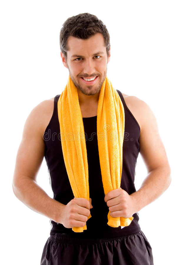 Free Smiling Young Man Holding Towel Stock Image - 7526611