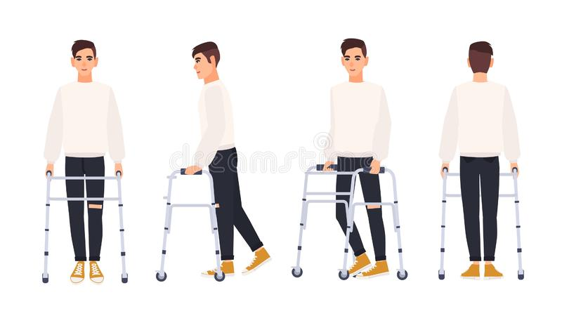 Smiling young man with walking frame or walker isolated on white background. Male character with physical disability or royalty free illustration